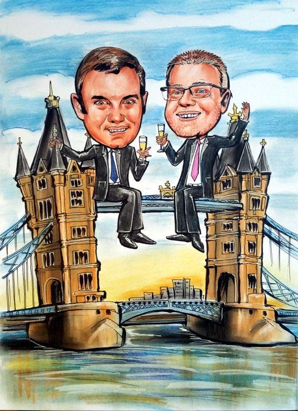 Caricature from photo on London bridge