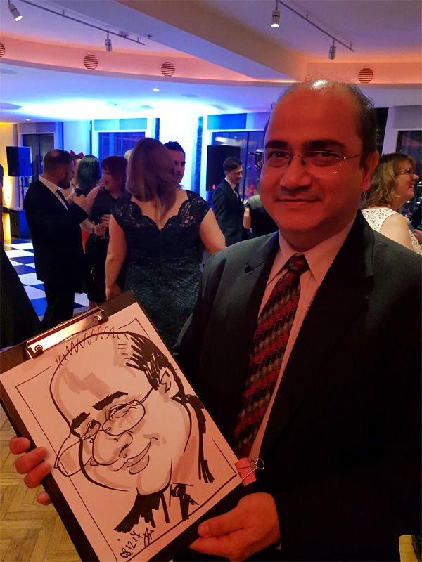 corporate Christmas party caricaturist
