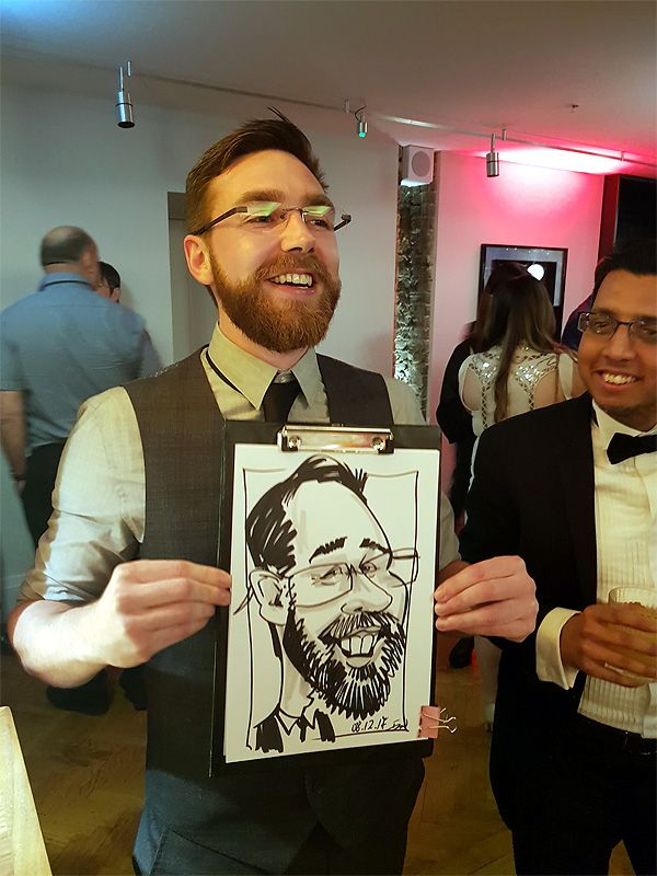 corporate event Christmas party caricaturist