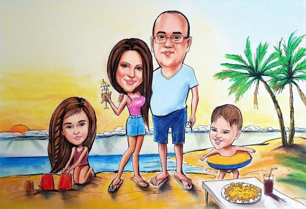 Caricature from photo - family of 4