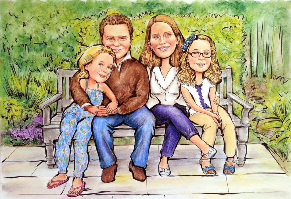 Caricature from photo of a family of 4