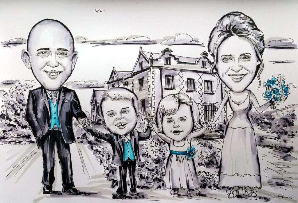 Wedding Caricature from photo of a family of 4