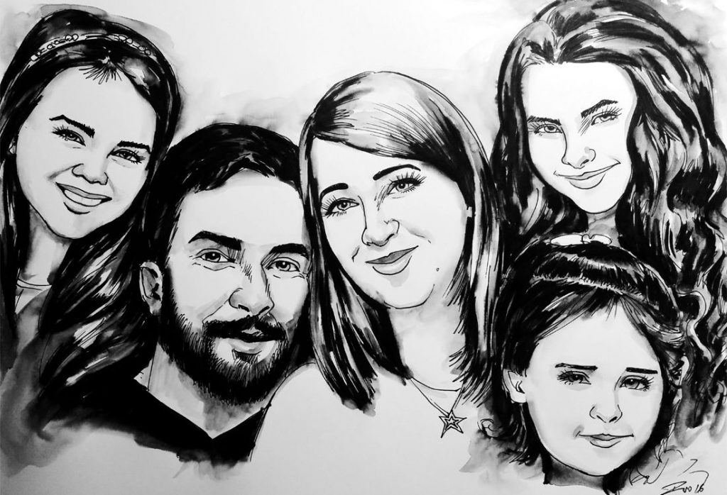 Caricature from photo of a family of 5