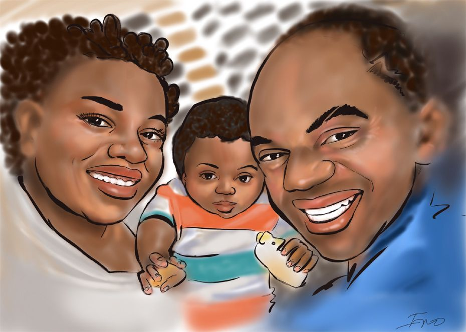 iPad family caricature