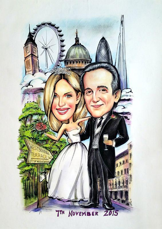 Wedding caricature board London