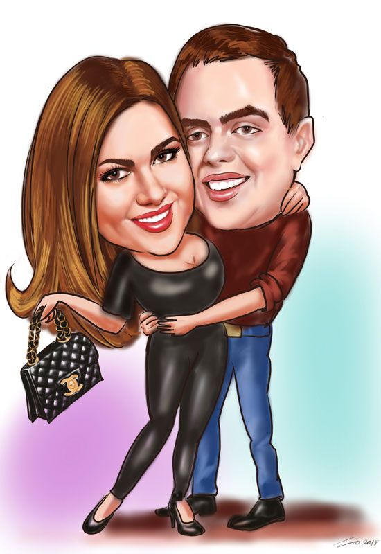 Couple Digital caricatures on iPad