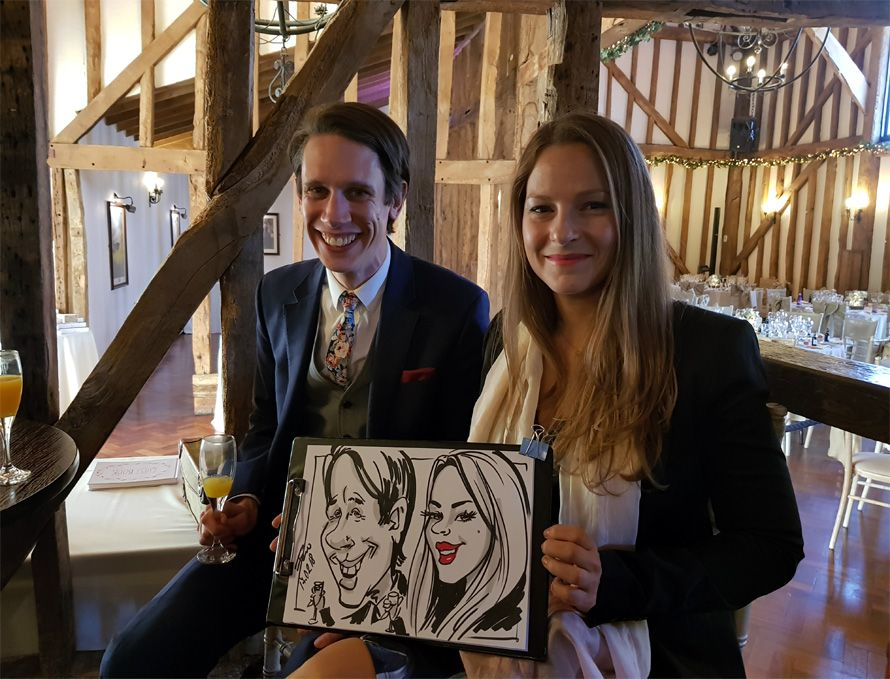 wedding caricature of friends