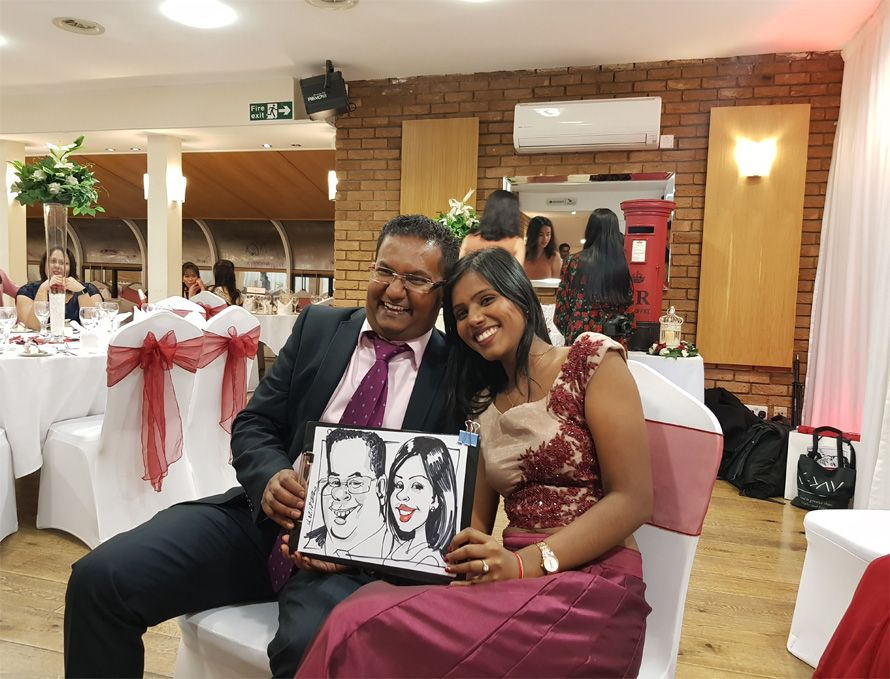 wedding caricature of family friends