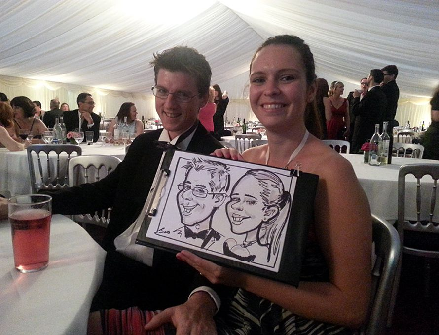 wedding caricature of a couple