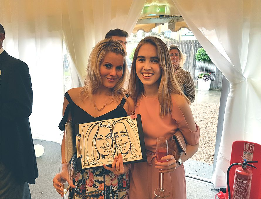 Wedding caricatures of 2 girls