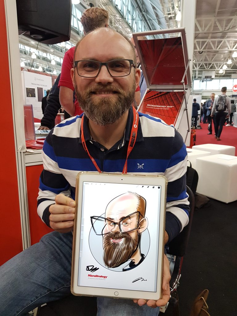 digital caricatures on iPad Pro